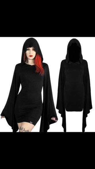sweater black goth rock halloween