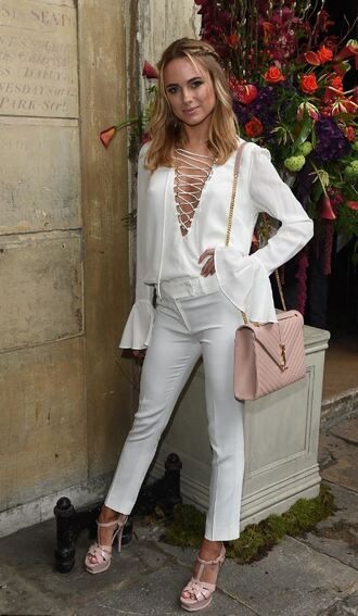 blouse white pants sandals kimberley garner london fashion week 2016 fashion week 2016