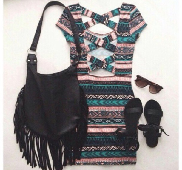 dress cross back tribal pattern