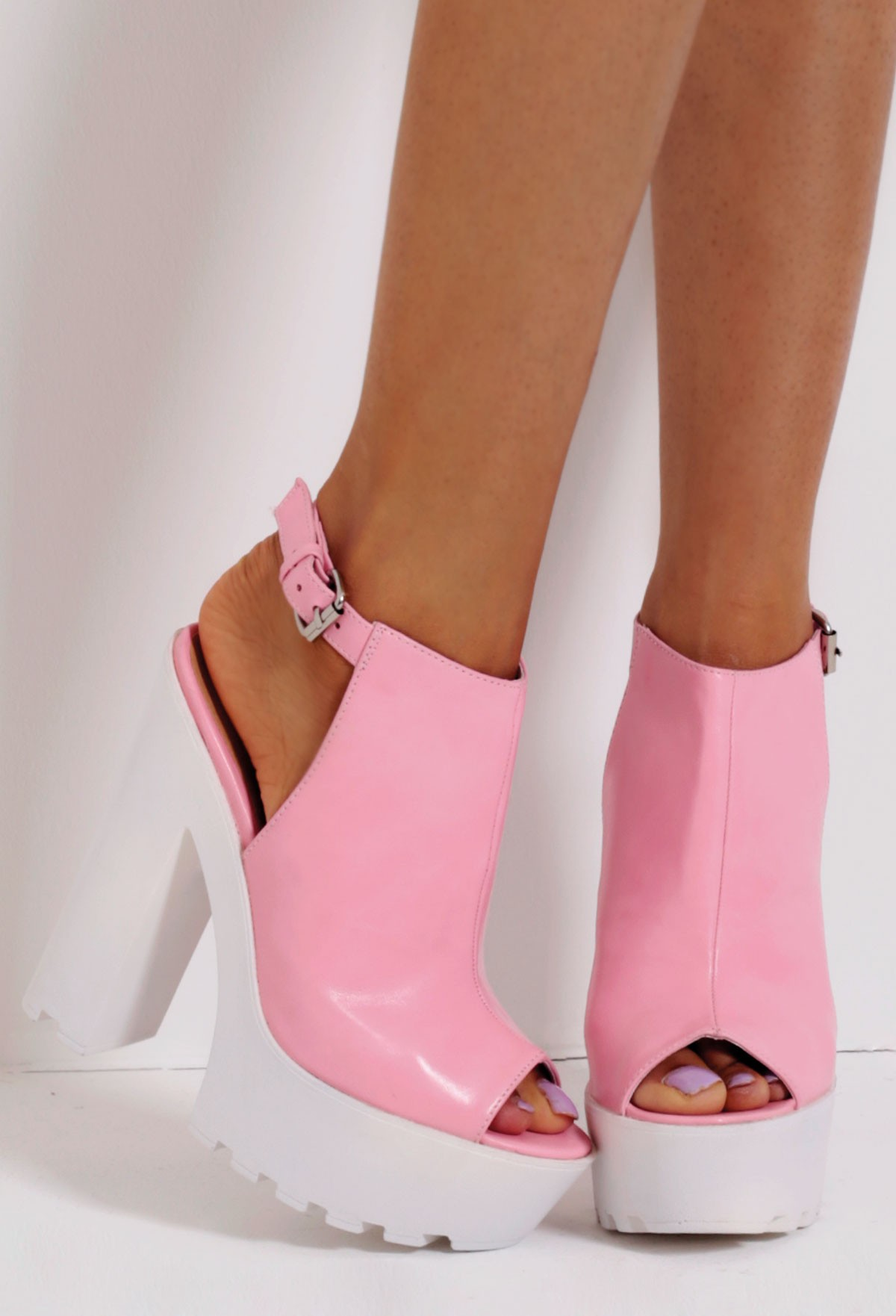 Candyfloss Pink Slingback Tractor Sole Platform Shoes | Pink Boutique