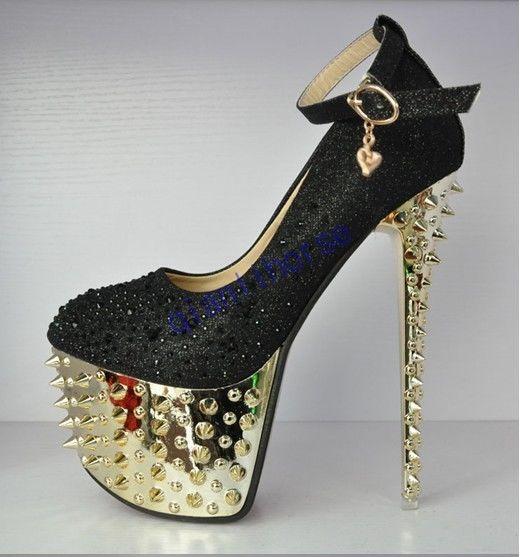 Hot Super Platform Studded Spike Ankle Straps Glitter Lace Diamonds High Heels | eBay