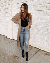shoes,boots,ankle boots,black boots,booties,jeans,ripped jeans,high waisted jeans,cardigan,long cardigan,knitted cardigan,black t-shirt