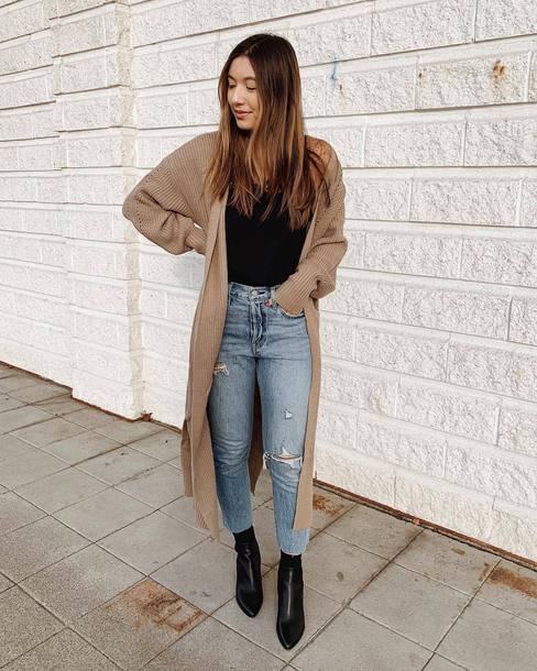 shoes boots ankle boots black boots booties jeans ripped jeans high waisted jeans cardigan long cardigan knitted cardigan black t-shirt