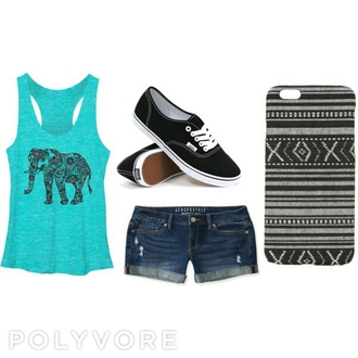tank top teal elephant aztec tribal pattern phone cover