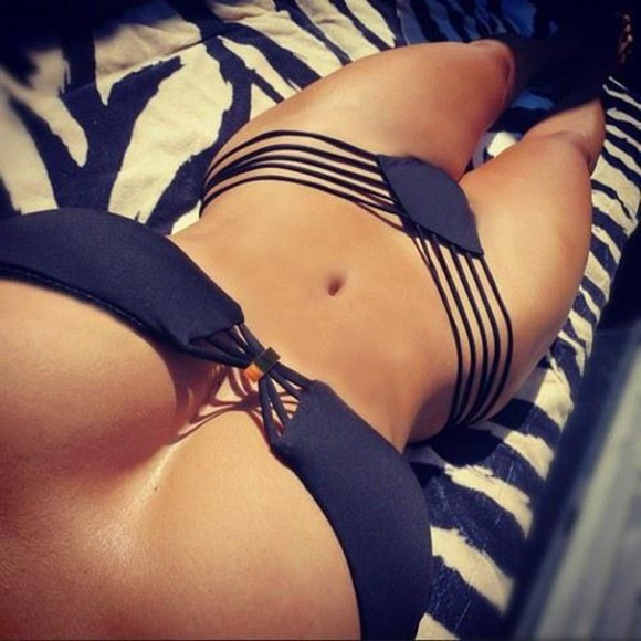 swimwear bikini two piece black black bikini laced bikini beautiful string