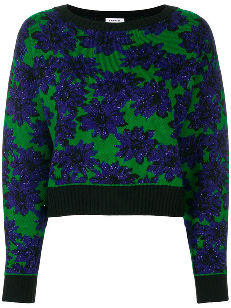 P.A.R.O.S.H. jumper women floral blue wool sweater