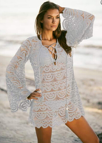 dress beachwear swimwear lace tunic beach beach dress summer fashion outfit fashion inspo crochet lace grey vacation