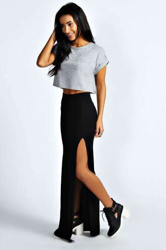 skirt black skirt maxi skirt slit in side tumblr slit skirt cute cute skirt pretty little liars t-shirt