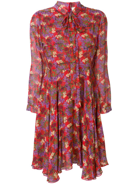 dress shift dress women floral print silk red