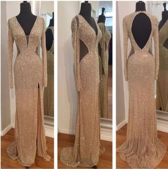 dress gold sequins openback prom long sleeves glitter rose gold beautiful long tight v neck slit pretty cute sparkle sexy prom dress