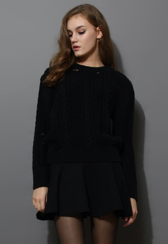 dress shredded cable knit twinset