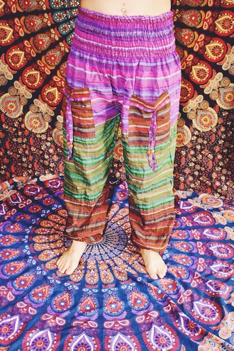 pants ombre ombre bleach dye beach purple bohemian boho chic gypsy hippie harem pants
