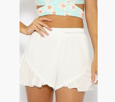 Frilly white ruffle shorts · fashion struck · online store powered by storenvy