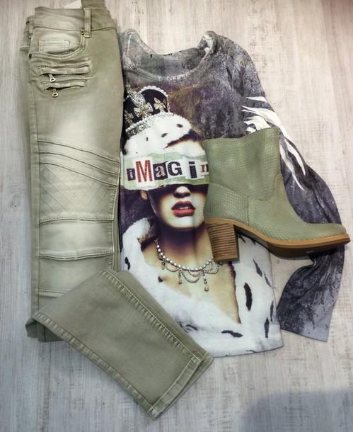 shirt shirt jeans & booties in khaki