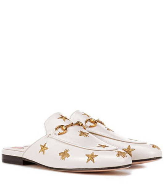Gucci Princetown leather slippers in white