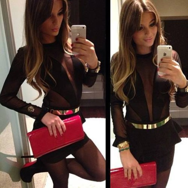 dress mesh dress little black dress long sleeve dress sexy party dresses