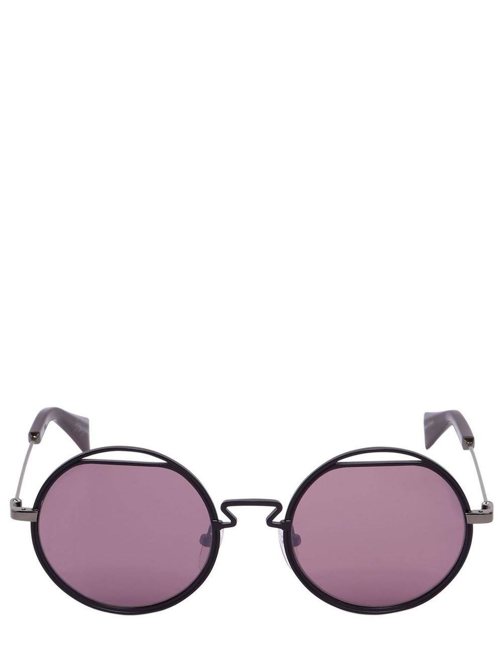 YOHJI YAMAMOTO Round Metal Cutout Sunglasses in purple