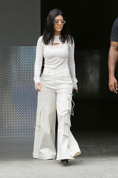top bodysuit wide-leg pants kourtney kardashian all white everything kardashians spring outfits streetstyle sunglasses pants