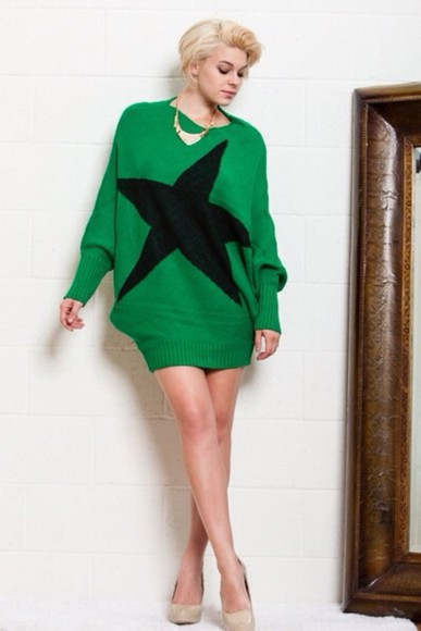 dress green dress sweater