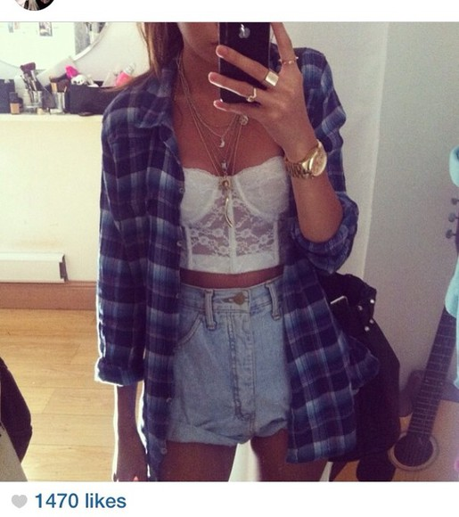 blue shirt plaid flannel shirt blue shirt checked shirt blouse summer jacket white lace bralet high waisted short shorts denim cuffed shorts