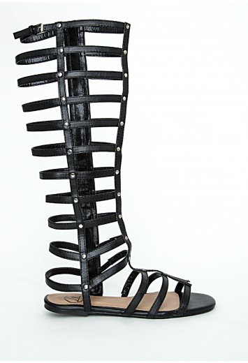 Kendy metallic caged gladiator sandals in black