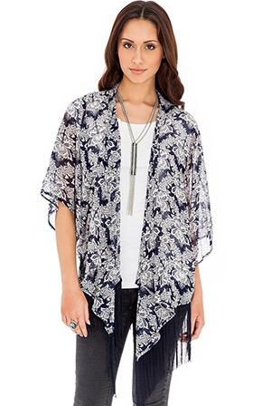 Damask Print Tassel Kimono Jacket
