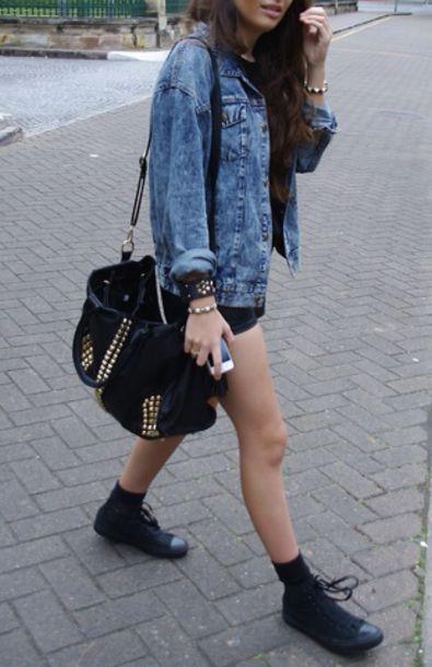 Denim Jacket Black Shorts Black Bag Studded Bag Flats