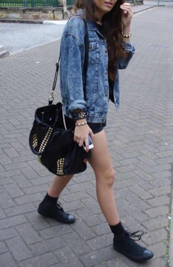 denim jacket black shorts black bag studded bag flats black shoes