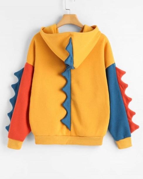sweater girly hoodie yellow blue orange colorblock