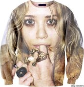 sweater,sweatshirt,crewneck,mary kate olsen,mary-kate olsen,mary kate,clothes,celebrity