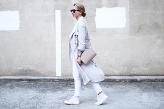 jane's sneak peak blogger coat sweater jeans shoes bag jewels sunglasses grey trench coat