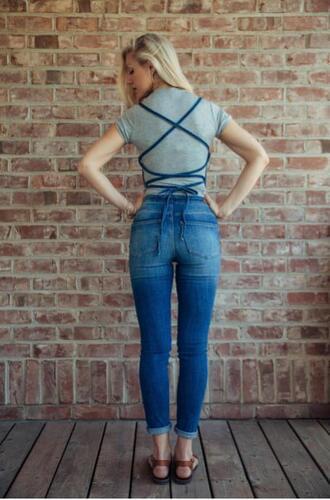 jumpsuit denim back lace overalls