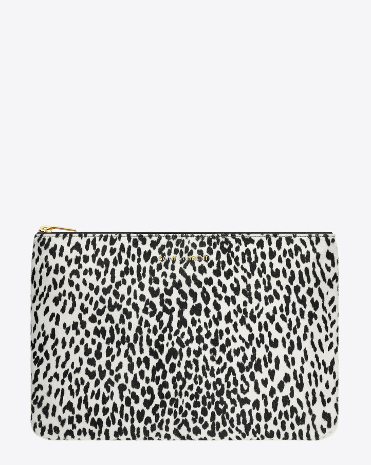 Saint Laurent Letters Saint Laurent Zipped Clutch In Black And White Babycat Printed Cowhide | ysl.com