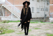madame rosa,blogger,boho,black,fringes,thigh high boots,hat