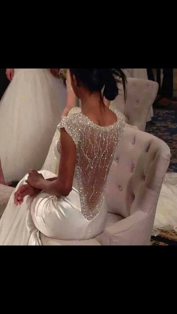 dress wedding dress silver lowback