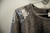 sweater,sequins,grey sweater