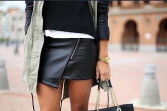 skirt black black leather skirt zip zipper skirt leather leather skirt short skirt