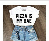 t-shirt,pizza,batoko,white t-shirt,quote on it,white crop top.,www.batoko.com,501s,High waisted shorts,top,pizza shirt,bae,babe,food,white shirt,basic,dope,cool,denim shorts,denim,cuffed shorts,cuffs,studs,studded shorts,swag,nice,blue shorts,ripped shorts,black n white,pizza is my bae,levi's,sunglasses,shirt,print,white crop to that saids pizza is bae,shorts,blouse,white top,style,cute top,outfit,black& white,bea,white,black,beautifu,gorgeous,wanthis,crop tops,white black letters