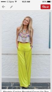 pants,lime yellow pants