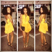 romper,leigh-anne pinnock,instagram,yellow,plunge v neck