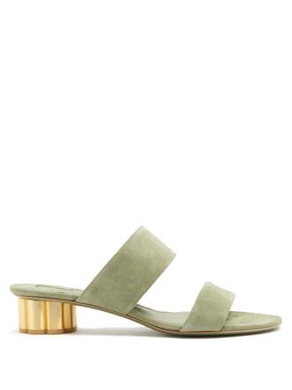 heel sandals suede khaki shoes