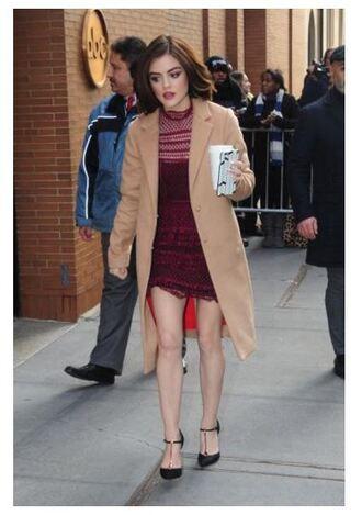 dress burgundy pumps coat fall outfits lucy hale camel camel coat lace dress shoes
