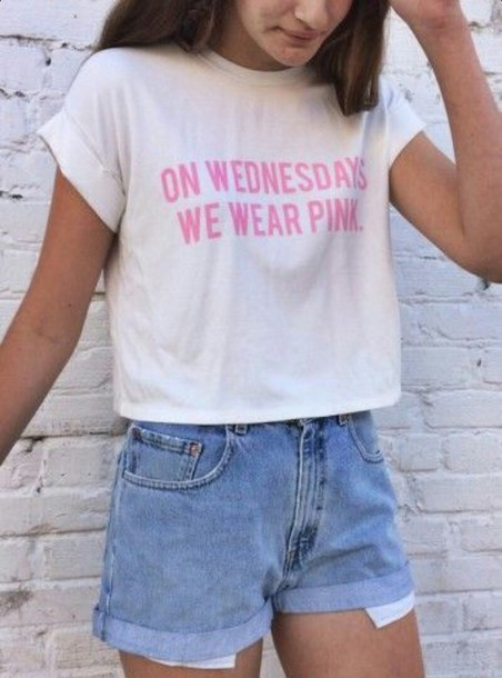t-shirt crop tops pink letters wednesday mean girls shirt shirt white crop tops white t-shirt white t-shirt quote on it on wednesdays we wear pink