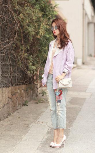 mellow mayo sunglasses jewels jacket jeans tank top t-shirt bag shoes