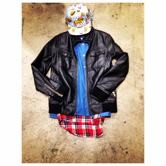style original chuck fast food hat camper 5 pannel leather jacket outfit