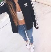 jacket,black,adidas,adidas jacket,black and white,cotton,black jacket,bomber jacket