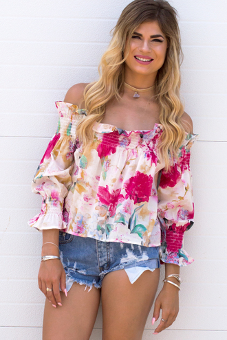 top floral floral top off the shoulder summer summer top summer outfits ootd jewelry choker necklace cut off shorts denim shorts trendy streetwear love cute