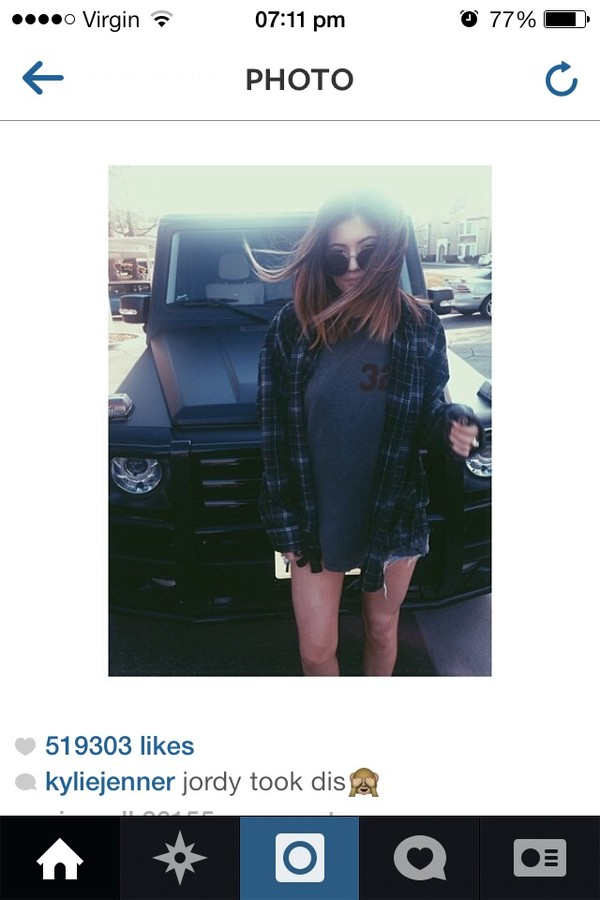 shirt kylie jenner checked shirt sunglasses t-shirt