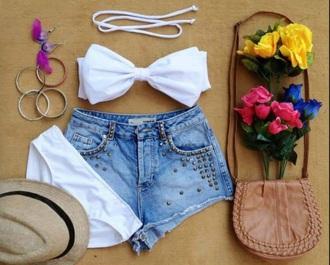 swimwear white bows bikini