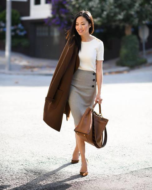 skirt plaid skirt pencil skirt button up skirt pumps handbag white blouse coat wool coat earrings